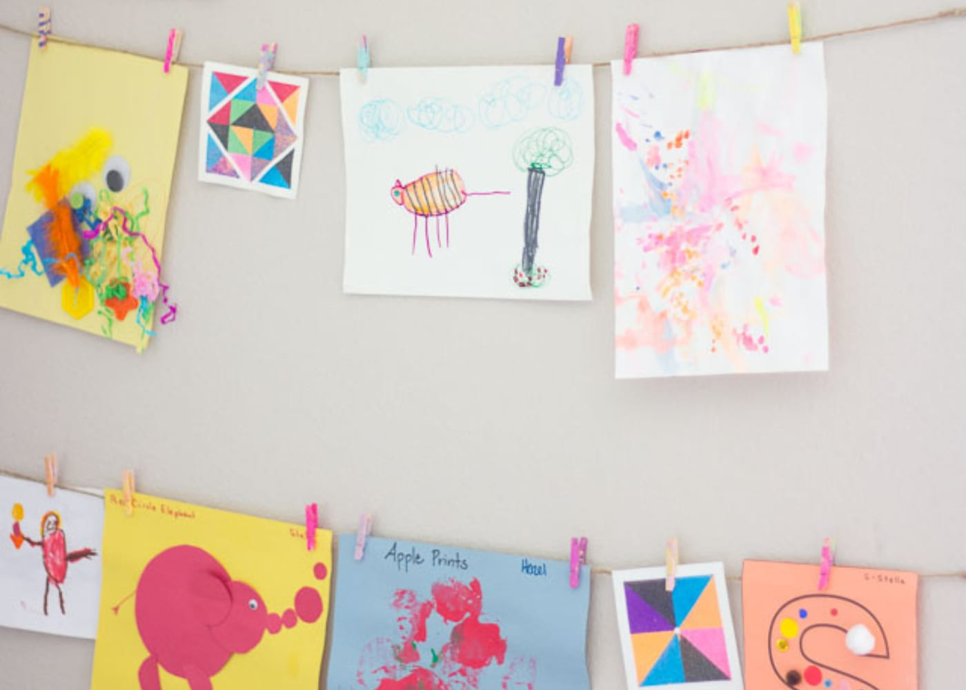 show art using pegs and string