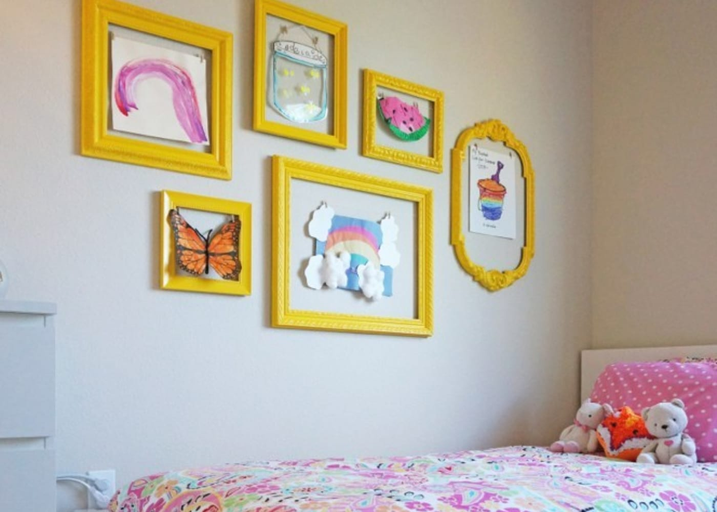 show off your kids art in frames