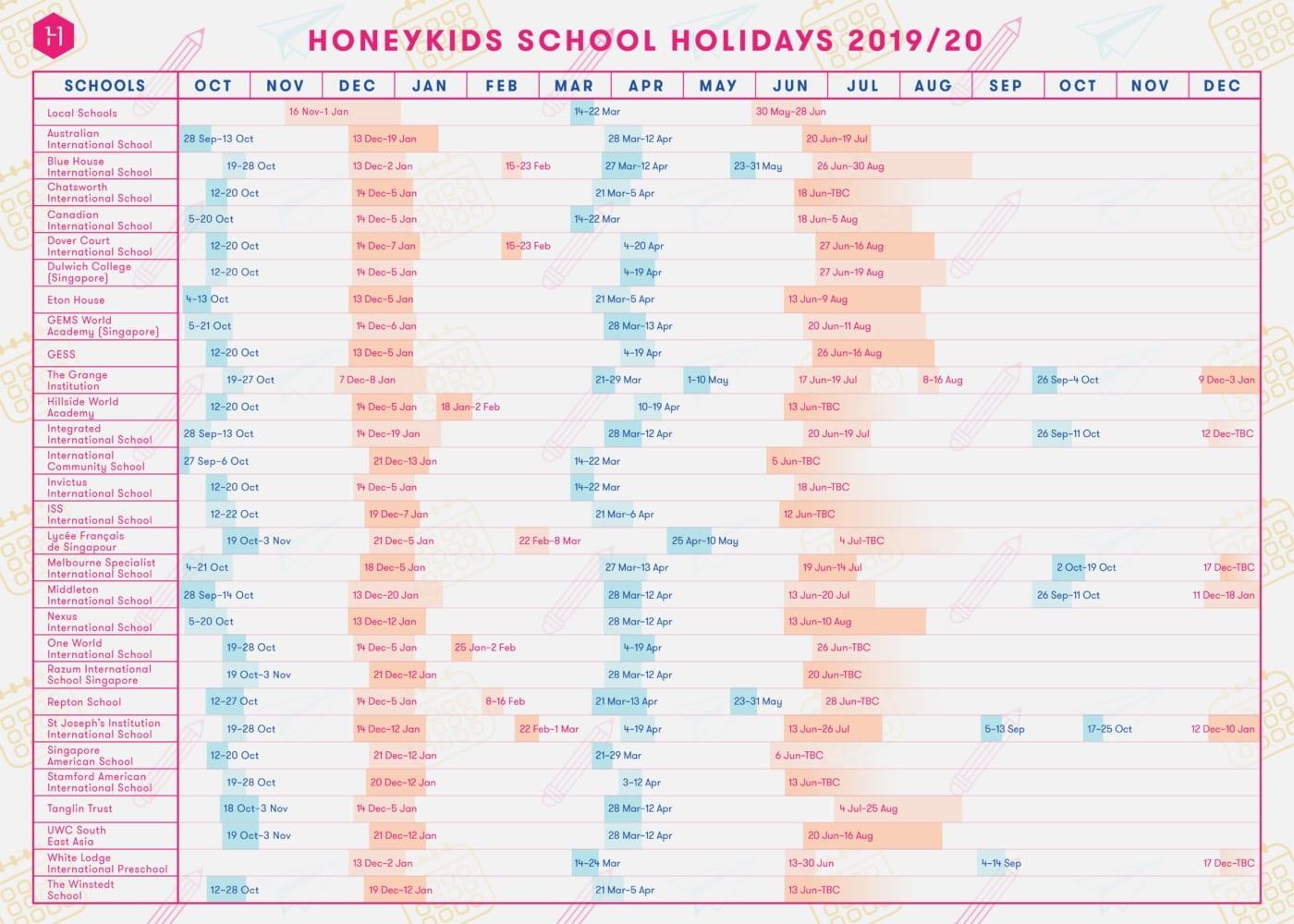 international school holidays in 2020